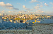 The view from the 16th century Suleymaniye mosque, the largest Ottoman mosque in Istanbul, Turkey, looking towards the Bosphorus and Beyoglu. Galata Tower can be seen in the background centre