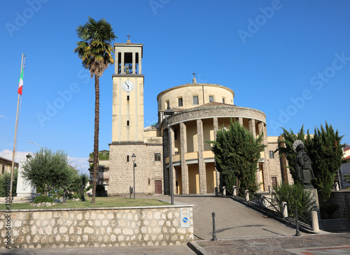 ancient Church with bell tower in Aquino Town in Italy Canvas Print