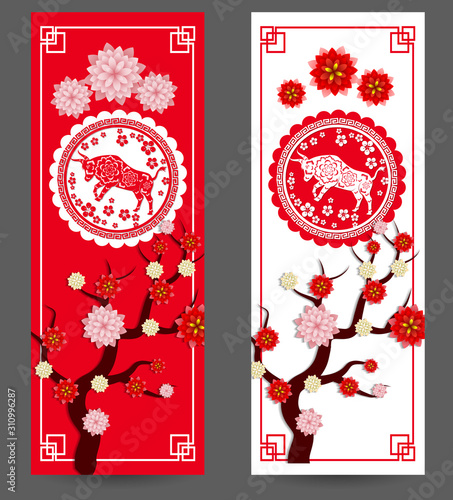 Fototapeta Happy chinese new year 2021 year of the ox flower and asian elements with craft style on background obraz na płótnie