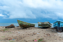 Old Fishing Boats On The Ocean...