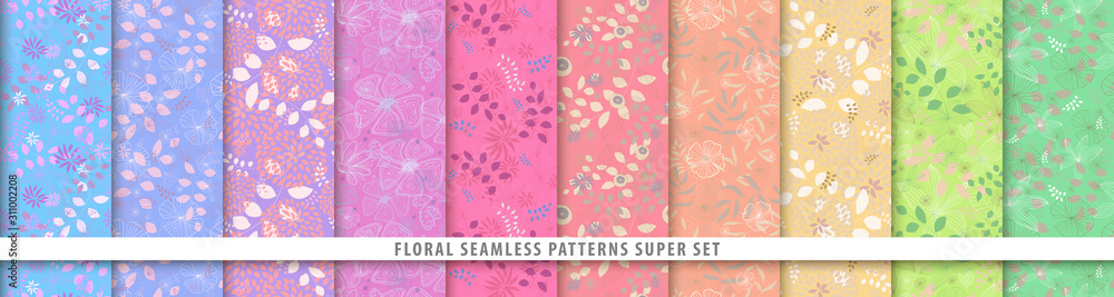 Fototapeta Floral seamless patterns bundle set. Flowers and leaves. Colorful vector background. Fabric and textile print