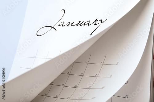 Closeup view of white paper office calendar Canvas Print