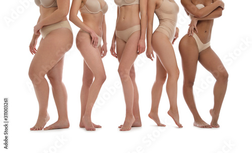 Fényképezés Group of women with different body types in underwear on white background, close