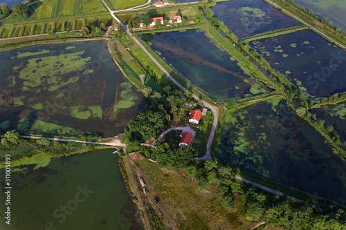 Photo Aerial view of fishponds Crna Mlaka, Croatia