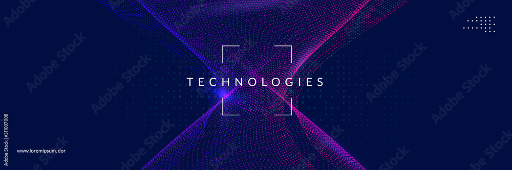 Fototapeta Artificial intelligence tech background. Digital technology, deep learning and big data concept. Abstract visual for screen template. Geometric artificial intelligence tech backdrop.