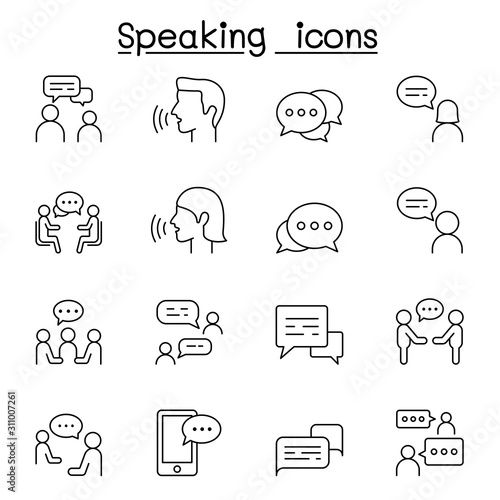 Fotomural  Talk, speech, discussion, dialog, speaking, chat, conference, meeting icon set i