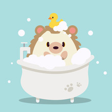 The Character Of Cute Hedgehog Bathing In The Bathtub With Bubble. On The Cute Hedgehog Have A Duck Rubber. The Character Of Cute Hedgehog In Flat Vector Style.