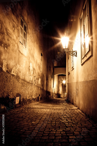 mysterious narrow alley in Prague Canvas Print