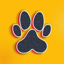 Dog Paw Print Pop Art, Retro Icon. Vector Illustration Of Pop Art Style