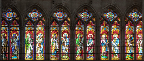 Fotografía  Detail of a stained glass window of a church in the city of Troyes in France