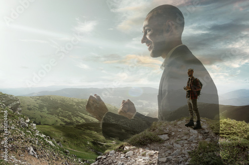 Happiness. Businessman with landscapes on background, double exposure. Lives in megapolis but needs to find herself face to face with nature. Dreams about mental balance. Psycology, eco concept.
