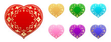 Vector Set Of Hearts In Islamic Style. Floral Arabesques Woven Into A Heart Shape. Gold And Silver Decor. Red, Yellow, Green, Cyan, Pink, Purple And Blue Colors. Isolated Stickers And Icons About Love