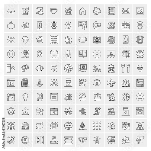 Fototapeta Set of 100 Universal Modern Thin Line Icons for Mobile and Web. Mix Business icons Like Arrows, Avatars , Smileys, Business, Weather obraz na płótnie