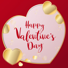 The Gold Heart Vector Image For  Valentine Day Content.