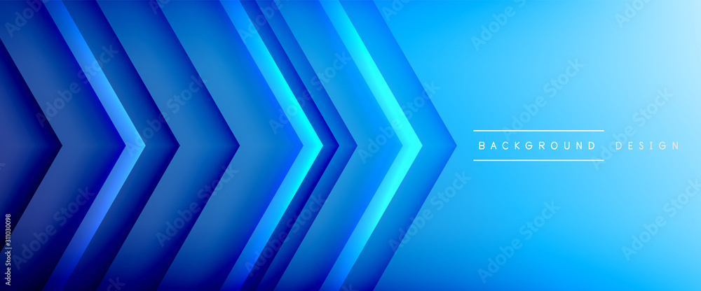 Fototapeta Arrow lines, technology digital template with shadows and lights on gradient background. Trendy simple fluid color gradient abstract background with dynamic straight shadow lines effect