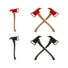 Cross Axe, Crossed Firefighter Wooden Axes Logo Design