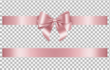 Isolated Pink Bow And Ribbon For Valentide Day, Birthday, Anniversary Decorations