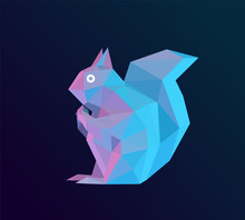 Holographic Cartoon Squirrel On Isolated Background. Vibrant Low Poly Vector 3D Rendering