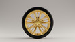 canvas print picture - Black an Gold Alloy Rim Wheel with a 5 Spoke Intricate Flared Open Wheel Design with Racing Tyre 3d illustration 3d render