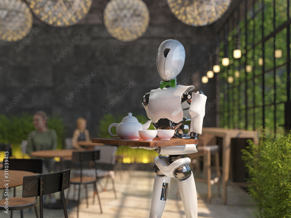 Fototapeta A humanoid robot waiter carries a tray of food and drinks in a restaurant. Artificial intelligence replaces maintenance staff. The concept of the future. 3D rendering.