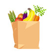 vector drawing on a white background, a paper bag with vegetables and fruits, tomatoes, bananas, asparagus, carrots, eggplant. Isolated, can be used as a clip art as a symbol of vegetarianism, vegan