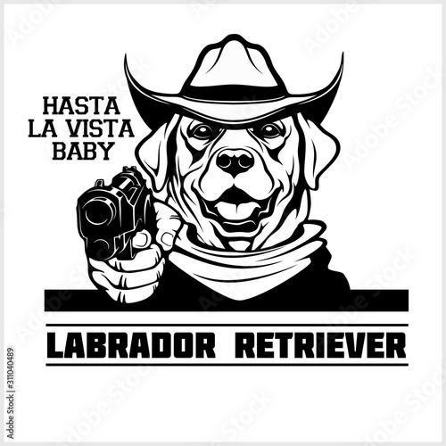 Labrador Retriever dog with gun - Labrador Retriever gangster Canvas-taulu