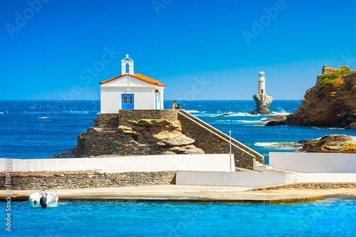 Obraz Andros, piękna wyspa na Cykladach, Morze Egejskie, Grecja - fototapety do salonu