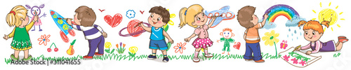Little kids drawings on the wall. Template for advertising brochure. Funny cartoon character. Vector illustration. Isolated on white background. Children's panorama. - 311041655