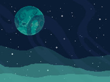 Vector Retro Futuristic Background. Abstract Digital Landscape With Particles Dots And Stars On Horizon. Pixel Art Background. 8 Bit. Planet In Space. Retro Game Design Interface.