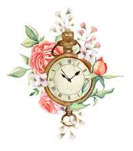 Vintage Bouquet With Antique Clock, Roses And Flowers. Watercolor Hand Drawn