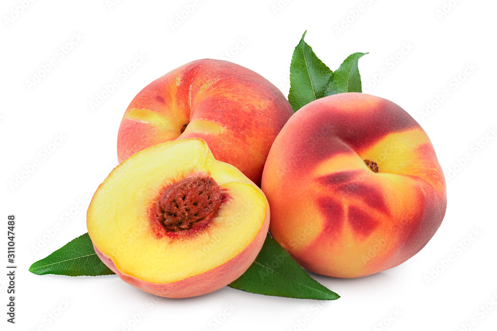 Fototapeta Ripe peach fruit and half with leaf isolated on white background