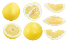 Pomelo And Slice Isolated On W...