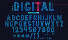 Technology Simple Type Tech Design. Vector Typeset Alphabet. Future Typeface Set. Geometric Modern Font. Futuristic Style.