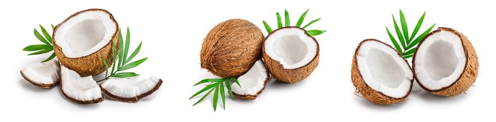coconut with leaves isolated on white background. Set or collection