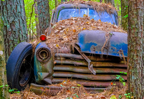 Fotografie, Tablou  Bald Tire and Old Truck
