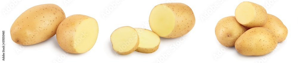 Fototapeta Young potato isolated on white background. Harvest new. Set or collection