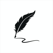 Feather Pen Logo Silhouette Ve...