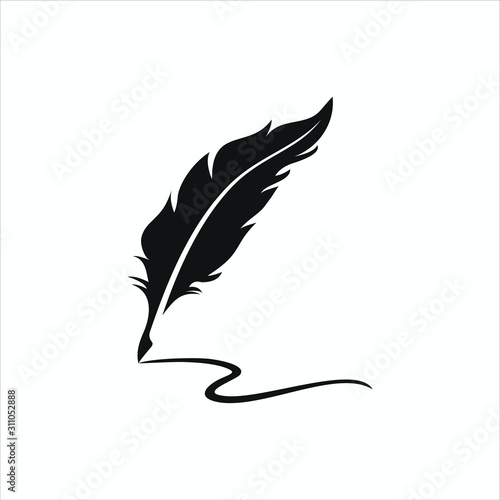 Photo feather pen logo silhouette vector design template premium
