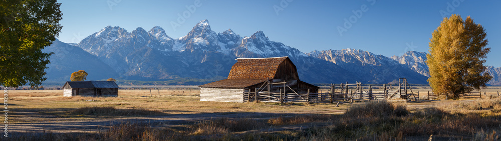Fototapeta John Moulton Barn within Mormon Row Historic District in Grand Teton National Park, Wyoming - The most photographed barn in America