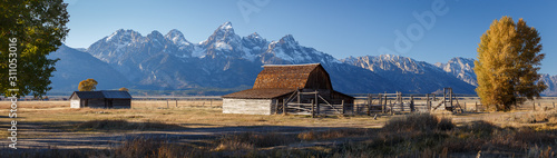 John Moulton Barn within Mormon Row Historic District in Grand Teton National Park, Wyoming - The most photographed barn in America - 311053016
