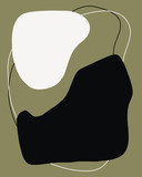 Abstract trendy artistic scandinavian art,banner, placard, brochure, poster, card, flyer and other.brown black and white organic shapes - 311053662