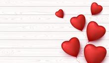 Valentine Day Banner With Hear...