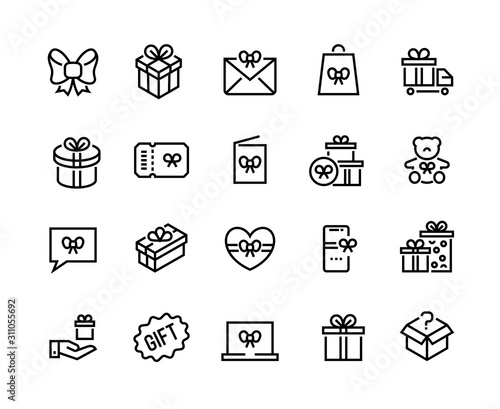 Fototapeta Gift line icons. Discount offer, bonus reward and special customer program, seasonal gift and lottery win. Vector gift boxes for present surprise set obraz
