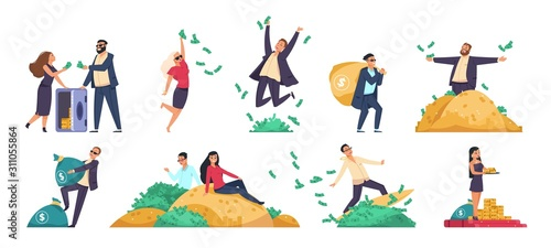 Fototapeta Rich people. Millionaire or banker happy cartoon character with bundles of money, throwing and jumping. Vector illustration wealthy businessman in financial stability set on white background obraz
