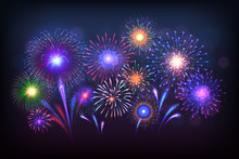 Fireworks Background. Party Celebration Light With Golden Sparkles And Colorful Shining. Vector Beautiful Poster With Salute On Dark Background, Painting Illustration Patriotic Fire Rocket Stars