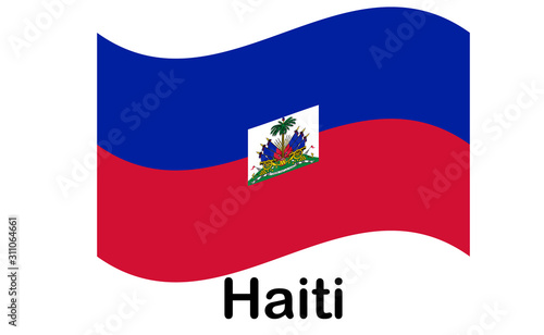 Photo Flag of Republic of Haiti and formerly called Hayti is a country located on the island of Hispaniola, east of Cuba in the Greater Antilles archipelago of the Caribbean Sea