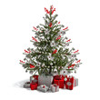 Fabulous Christmas tree with red ornaments and gifts