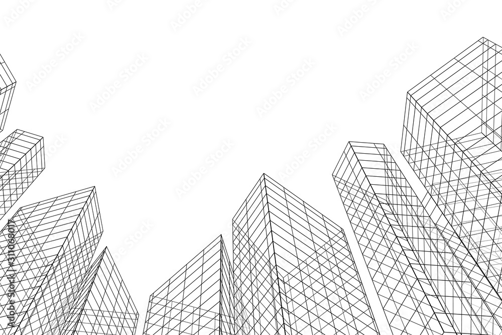 Fototapeta Abstract architectural background. Linear 3D illustration. Concept sketch. Vector