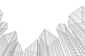 Abstract architectural background. Linear 3D illustration. Concept sketch. Vector
