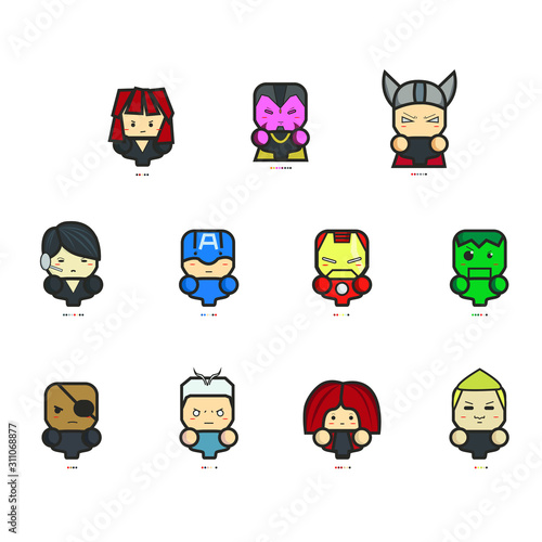 Photo Icon The Avengers Age of Ultron and Pantone, Captain America Iron Man and Avenge